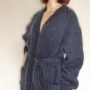LONGHAIR THICK MOHAIR JACKET WITH BELT AND POCKETS DARK GRAY -XL