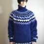Gefjun Icelandic mohair turtleneck sweater - navy blue - XL
