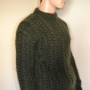 Thick cable knitted mohair sweater mossy green