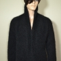 Black mohair jacket and grey scarf