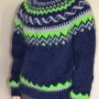 "Icelandic mohair crewneck sweater  navy blue ""Seattle Sweater""-X"