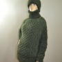 Aran mohair sweater and hat mossy green