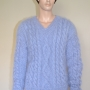 Brand new hand knitted thick Aran mohair sweater- light blue