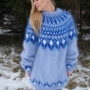 Mohair hand knitted Icelandic crewneck  sweater light blue-unise