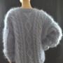 New hand knitted thick cableknitted Aran mohair sweater-