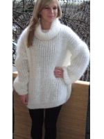 Mohair and wool turtleneck sweater oversized -white
