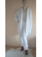 Thick cashmere and mohair jacet with hood and  ziper- Unisex