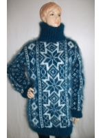 Fair Isle hand knitted mohair turtleneck sweater electric blue