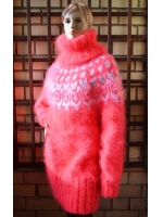 Icelandic mohair  sweater dress neon coral -One size