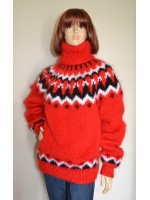 Icelandic mohair turtleneck sweater - hot red